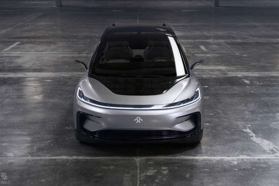 Faraday Future unveiled its FF 91 prototype electric crossover vehicle after at CES 2017 in Las Vegas. Photo: Faraday Future