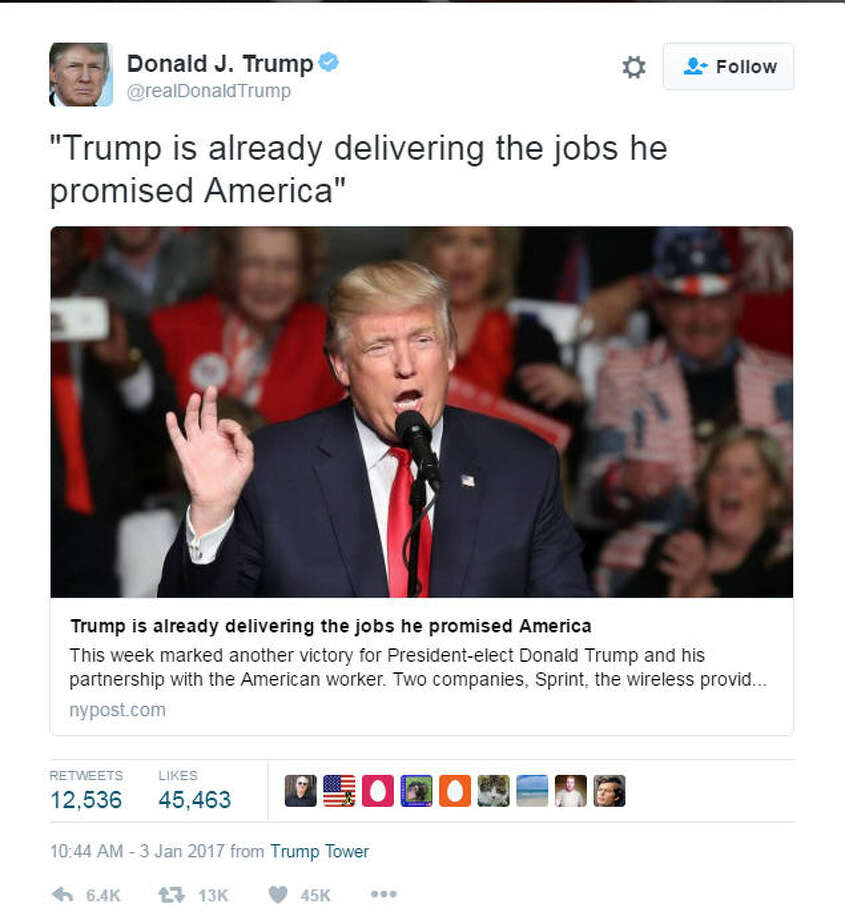 Donald Trump loves Twitter, and lately, he's been using it to cajole businesses and claim credit for jobs.Donald Trump loves to use Twitter. Lately, he's been tweeting to cajole businesses into staying in the United States and take credit - rightly or wrongly - for decisions by CEOs to drop plans to move to Mexico. Click through to see more about Trump's tweets on jobs, the economy and companies. Photo: Twitter