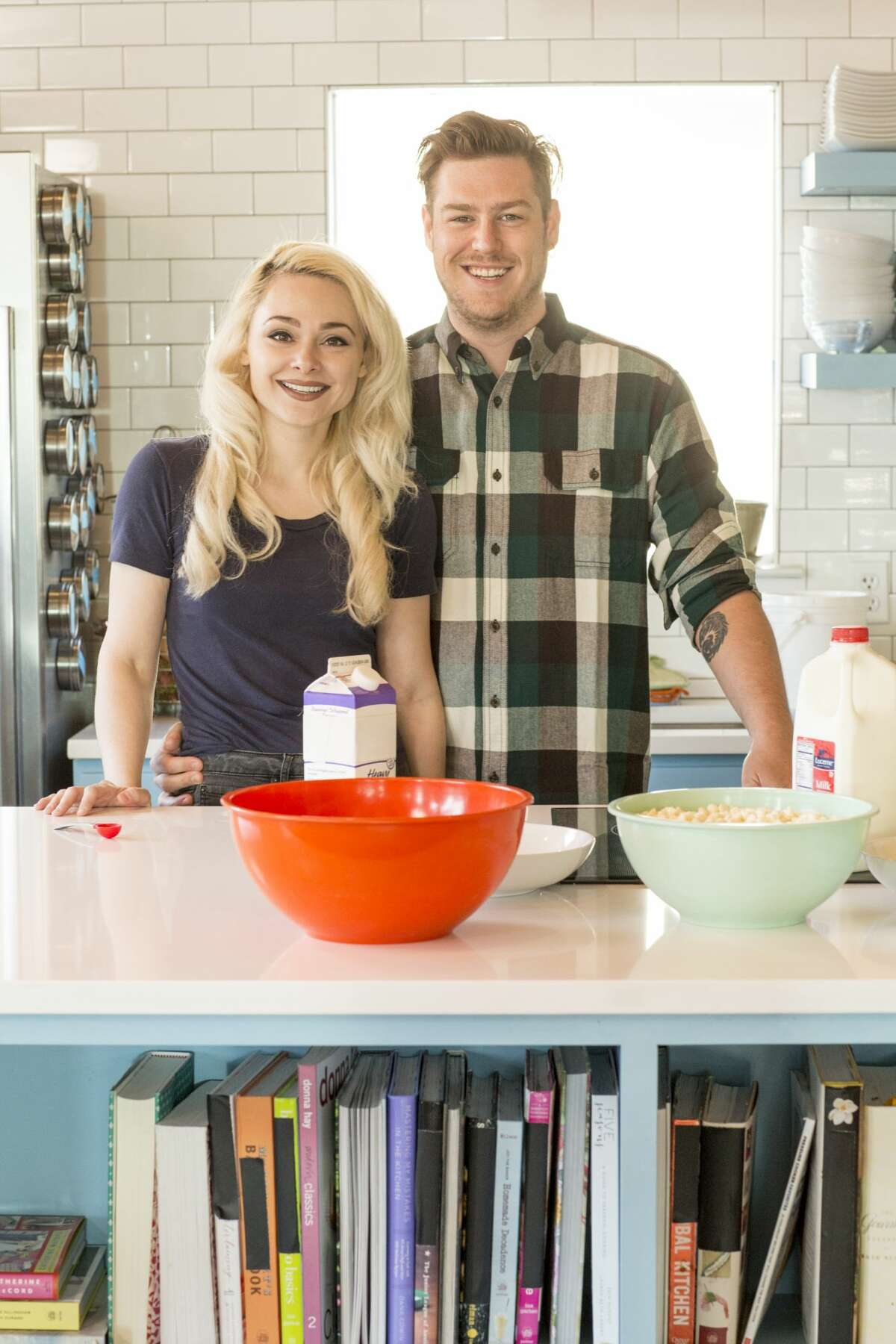 Natalie and Dave Sideserf in the kitchen, as seen on Food Network's first season of