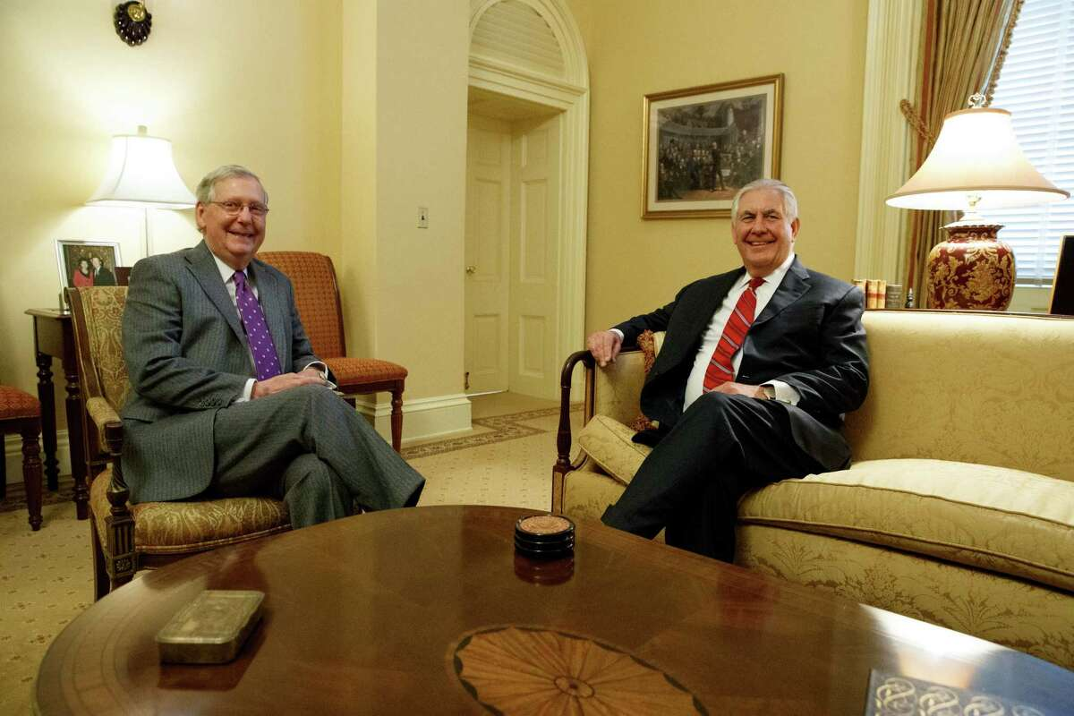 Senate Majority Leader Mitch McConnell, R-Ky., left, meets with Secretary of State-designate Rex Tillerson on Capitol Hill in Washington, Wednesday, Jan. 4, 2017. (AP Photo/Evan Vucci)