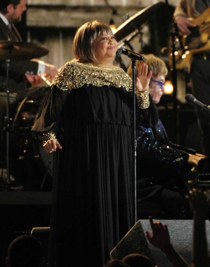 Mavis Staples, standing, and Elton John perform at the 55th annual Grammy Awards on Sunday, Feb. 10, 2013, in Los Angeles. (Photo by John Shearer/Invision/AP) Photo: John Shearer / Invision