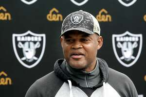 Oakland Raiders' defensive coordinator Ken Norton Jr. during a press conference as the team prepares for their playoff game against the Houston Texans this Saturday, at Raider headquarters in Alameda, California, on Wednesday January 4, 2017.
