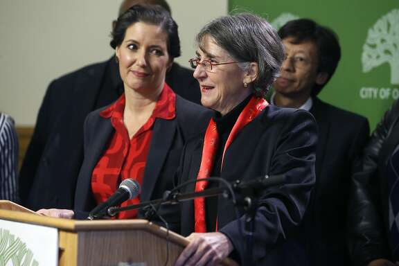 Anne Kirkpatrick speaks after Mayor Libby Schaaf names Kirkpatrick as the new Oakland police chief at a news conference in Oakland, Calif. on Wednesday, Jan. 4, 2017.