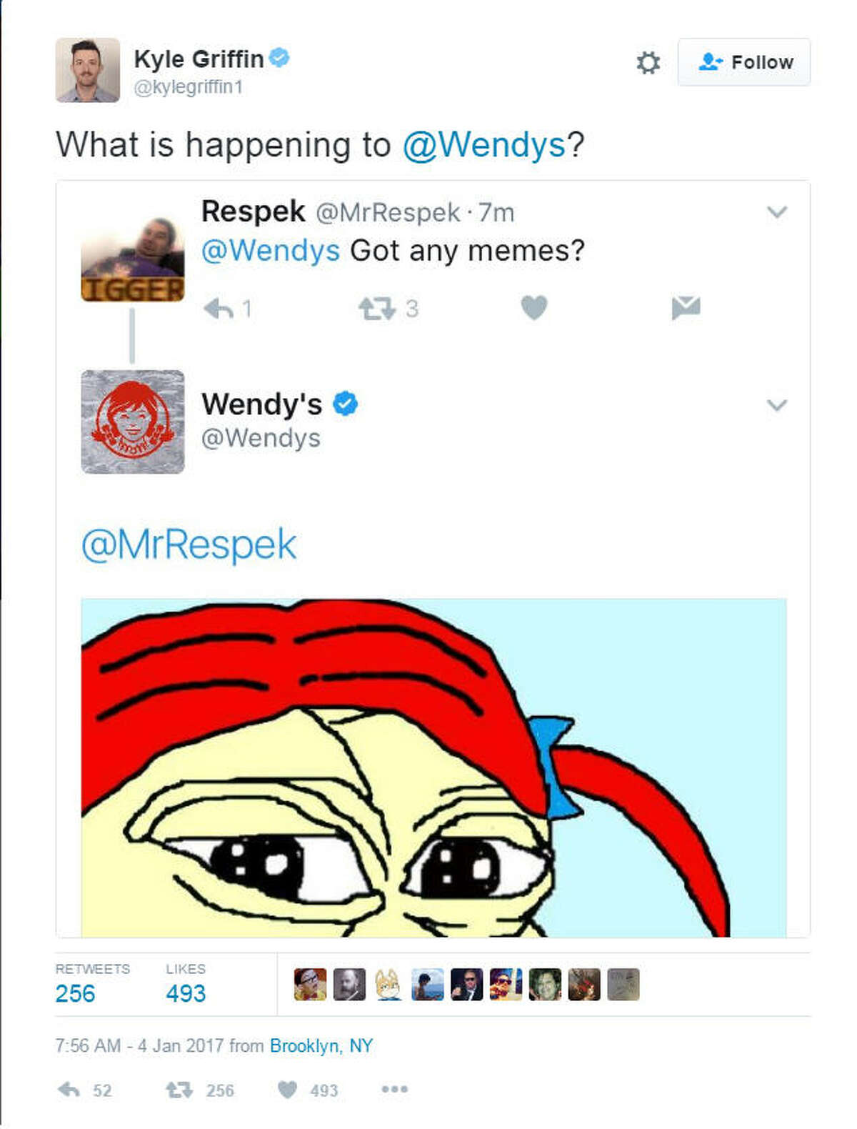 Catching the tweet MSNBC producer Kyle Griffin noticed the tweet Wednesday morning and immediately inquired about what Wendy's, an Ohio-based fast food chain, was doing.