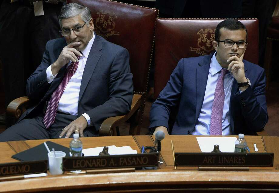 Senate Republican President Pro Tempore Len Fasano, R-North Haven, and Sen. Art Linares, R-Westbrook listen during opening session at the state Capitol, Wednesday, Jan. 4, 2017, in Hartford, Conn. Photo: Jessica Hill / Associated Press / AP2017