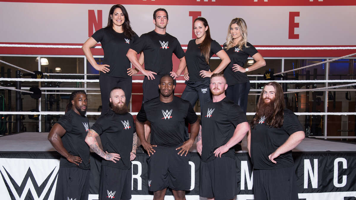 """Harlingen native Victoria Gonzalez (top row, far right,) 25, is currently training at the WWE Performance Center in Orlando in hopes of becoming a wresting """"super star."""""""