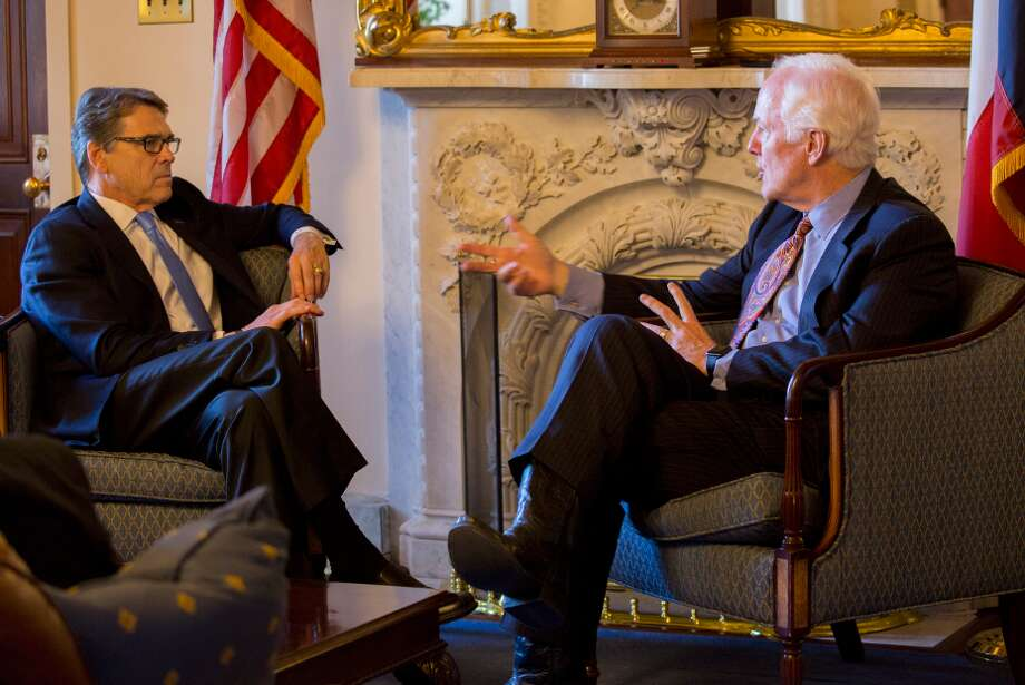 Former Texas Gov. Rick Perry, preparing for Senate confirmations hearings to be U.S. Energy Secretary, visits Sen. John Cornyn on Wednesday in his Capitol office Photo: Office Of Texas U.S. Sen John Cornyn