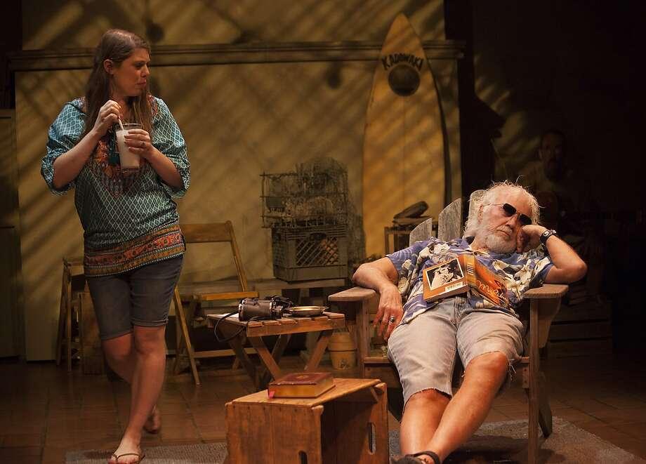"Sarah (Leandra Ramm) and Darwin (George Killingsworth) in ""Malibu."" Photo: John Feld, Indra�s Net Theater"