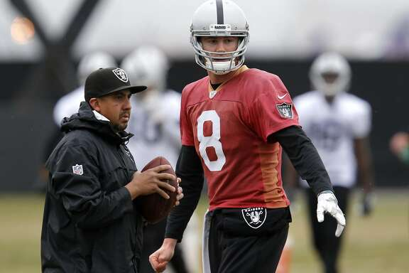 Quarterback Connor Cook, 8 as the Oakland Raiders hold an afternoon workout in Alameda, California, on Wednesday January 4, 201, as the team prepares for their playoff game against the Houston Texans this coming Saturday.
