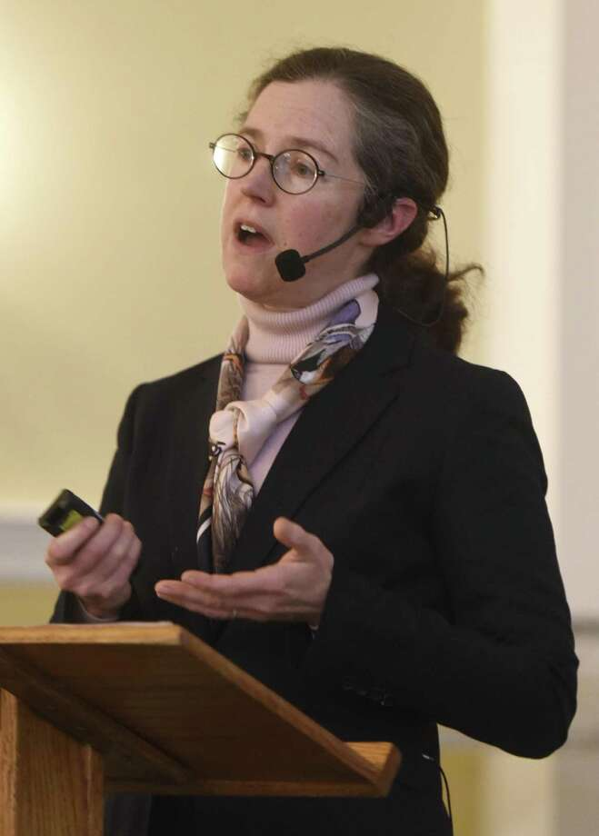 Greenwich Commissioner of Public Works Amy Siebert speaks during the Retired Men's Association weekly speaker series at First Presbyterian Church in Greenwich, Conn. Wednesday, Jan. 4, 2017. Photo: Tyler Sizemore / Hearst Connecticut Media / Greenwich Time