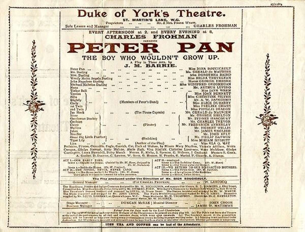 The playbill for the original production of �Peter Pan: The Boy Who Wouldn�t Grow Up,� which opened on Dec. 27, 1904, at the Duke of York�s Theatre in London. Photo: Public domain.
