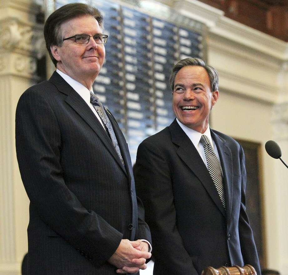 Lt. Gov. Dan Patrick and Speaker Joe Straus chat before Governor Greg Abbott delivers his State of the State address before a joint session of the Legislature held in the House of Representatives on February 17, 2015 Photo: Tom Reel / San Antonio Express-News