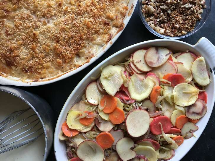 Classic bechamel sauce serves as the base for creamy winter root vegetable gratins.