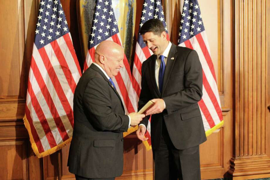 U.S. Rep. Kevin Brady (District 8 - Texas) is congratulated by Majority House Speaker Paul Ryan (right) after Brady was sworn into another term of office on Wednesday. Photo: Submitted