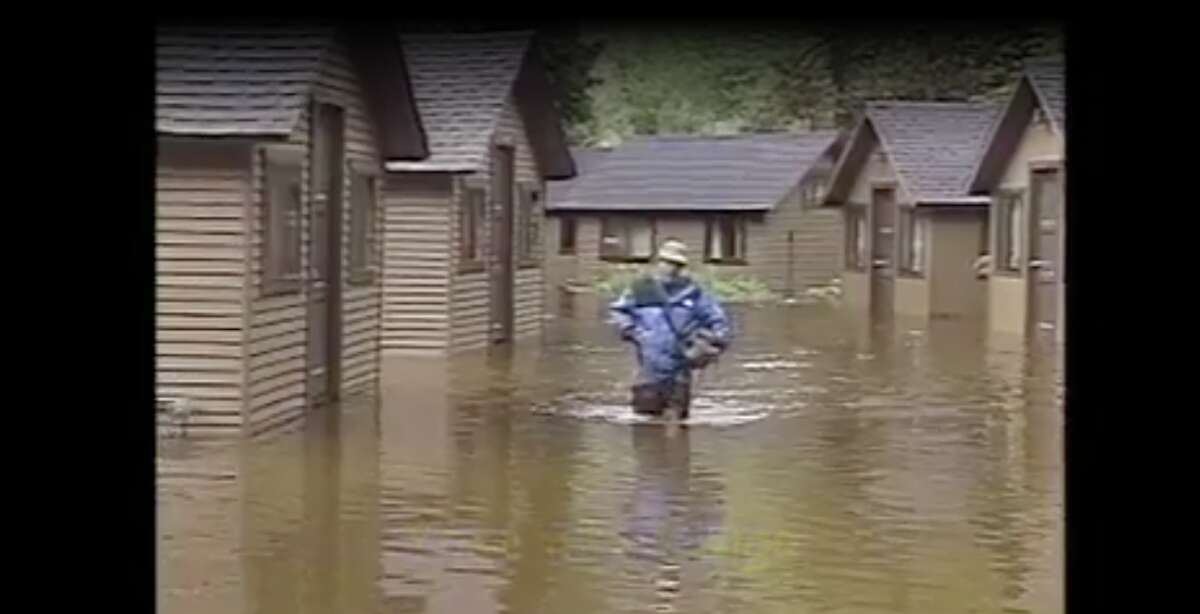 From January 1st to 3rd, 1997, the Merced River overflowed its banks, severing Highway 140 in several locations and damaging many of the cabins and campgrounds of Yosemite National Park.