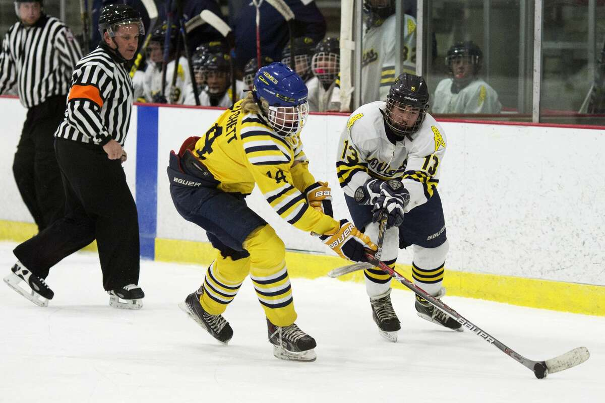 Midland's Tommy Pritchett fights for control of the puck with Mt. Pleasant's Eli Kea in a game at Midland Civic Arena on Wednesday.