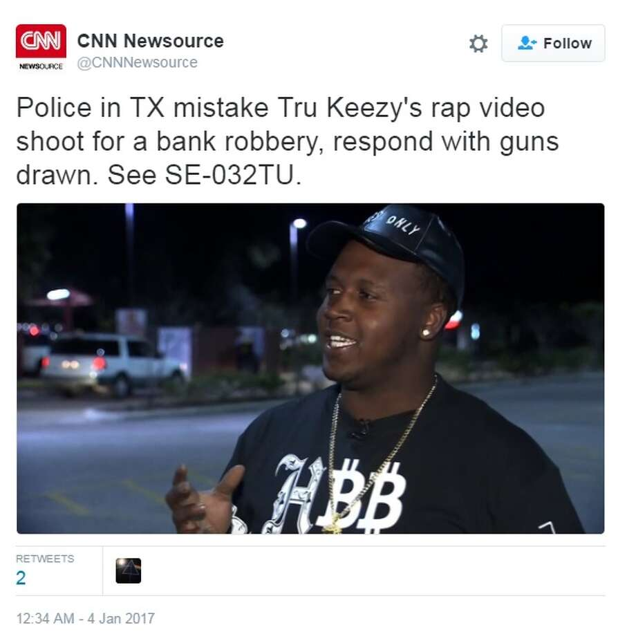 According to reports, rappers Tru Keezy, shown above, and Yung Groovy pretended to rob a bank in Lake Jackson for a music video shoot.Image source: TwitterClick through the slideshow to learn more about rappers from Houston  Photo: CNN Newsource Via Twitter