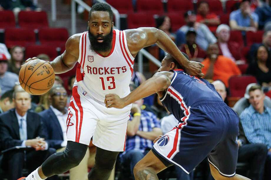 James Harden, named NBA Player of the Month on Tuesday, enters Thursday's game against the Thunder averaging 27.4 points against his former team. Photo: Michael Ciaglo, Staff / © 2016  Houston Chronicle