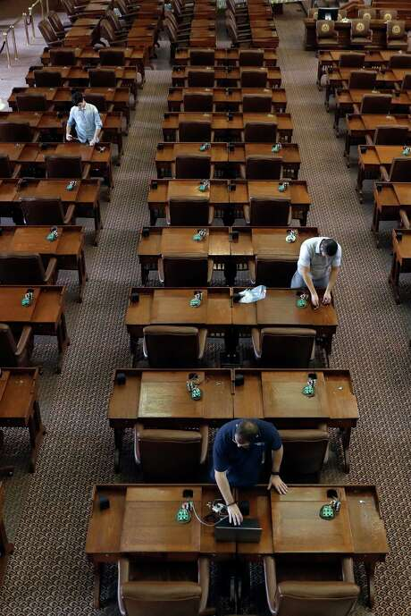 Rows of legislators' desks in the Texas House after the Texas Legislature adjourned on Monday. Photo: Eric Gay, STF / Copyright 2017 The Associated Press. All rights reserved.