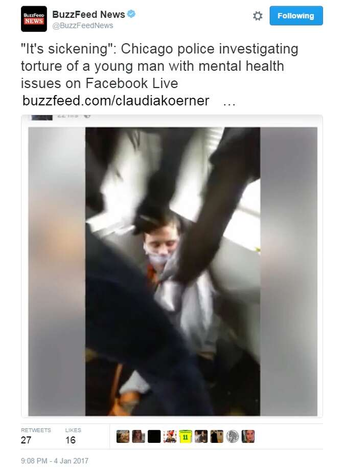 According to reports, Chicago police are investigating the reported torture of a young man who was kidnapped and broadcasted on Facebook Live.Image source: Twitter Photo: BuzzFeed News Via Twitter
