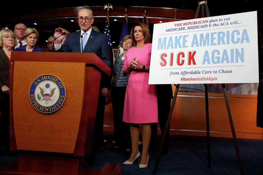 Senate Minority Leader Charles Schumer of N.Y., joined by fellow Congressional Democrats, speaks during a health care news conference on Capitol Hill, Wednesday, Jan. 4, 2017, in Washington, From left are, Sen. Patty Murray, D-Wash., Rep. Joseph Crowley, D-N.Y., Sen. Elizabeth Warren, D-Mass., Schumer and House Minority Leader Nancy Pelosi of Calif.  (AP Photo/Evan Vucci) Photo: Evan Vucci / Copyright 2017 The Associated Press. All rights reserved.