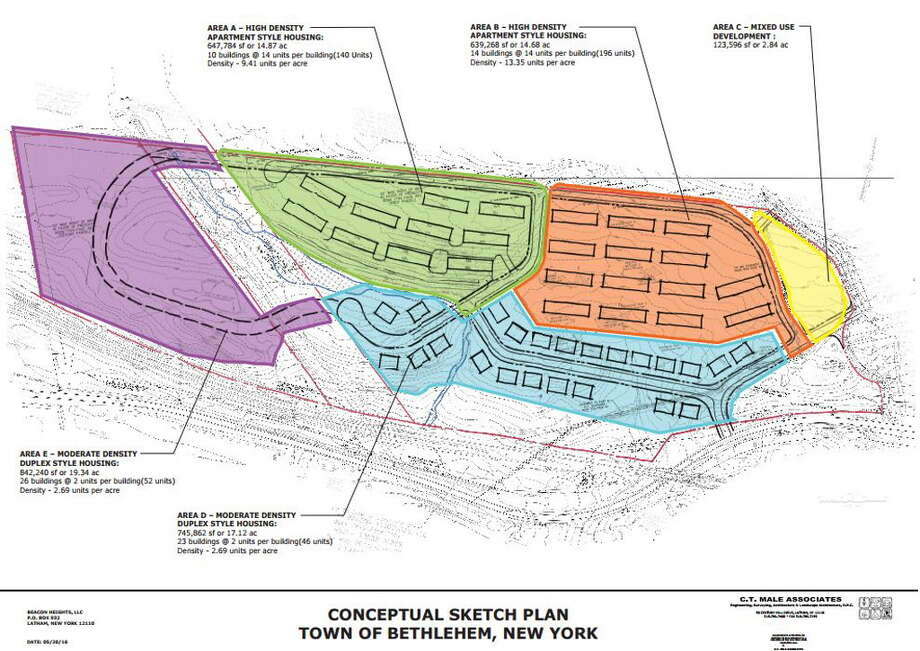 Jim Horvath envisioned building more than 430 apartments and 123,000 square feet of mixed use space on a parcel off River Road in Glenmont. Town of Bethlehem planners say the project does not conform to local zoning laws that changed last month. Source: Town of Bethlehem Photo: Rulison, Larry