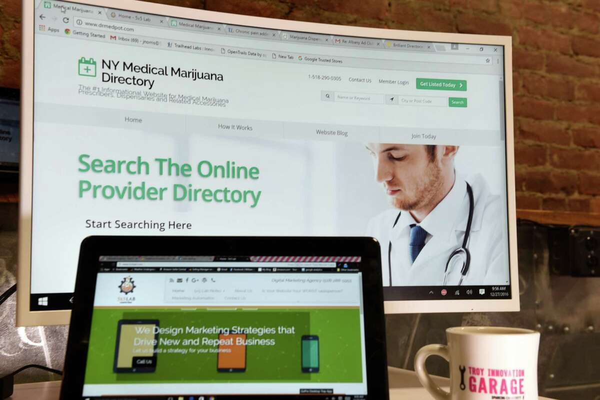 The website drmedpot.com, created by John Norris and John Karling's 5X5 Lab digital media business to locate medical marijuana doctors in New York, on Tuesday, Dec. 27, 2016, at the Troy Innovation Garage in Troy, N.Y. (Cindy Schultz / Times Union)