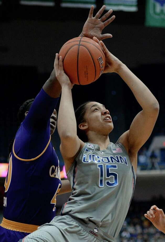 Connecticut's Gabby Williams looks to shoot as East Carolina's Gabrielle Holston, left, defends, in the first half of an NCAA college basketball game, Wednesday, Jan. 4, 2017, in Hartford, Conn. (AP Photo/Jessica Hill) ORG XMIT: CTJH122 Photo: Jessica Hill / AP2017