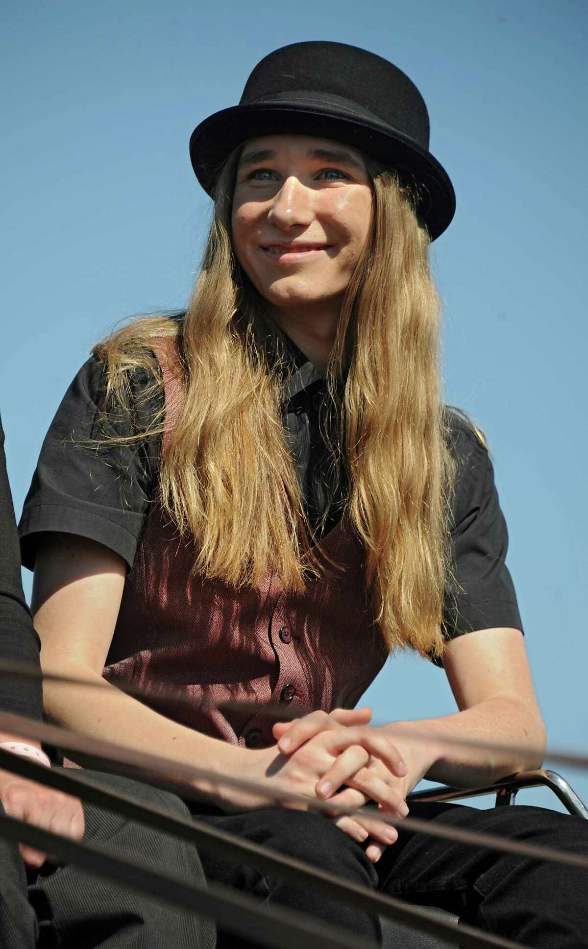Fultonville?s own Sawyer Fredericks arrives to Fonda Speedway on Wednesday, May 6, 2015 in Fonda, N.Y. The 16-year-old singer/songwriter is one of the final six contestants on NBC?s show The Voice. (Lori Van Buren / Times Union)
