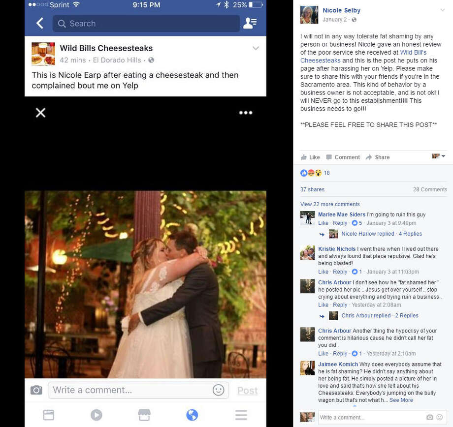 "After leaving a negative Yelp review for Wild Bill's Cheesesteaks, Nicole Earp has been the center of a social media backlash. Following the review, Earp took to Facebook to complain about the owner's response to her comments. He responded with a personal photo of her ""enjoying a cheesesteak"" - the photo is of her and her husband on their wedding day.Source: Facebook Photo: Facebook"