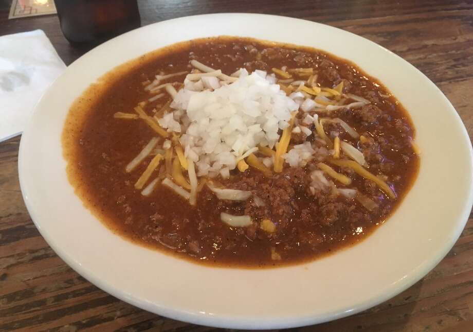 Bombay Bicycle Club, 3506 N. St. Mary's St., 3506 N St Mary's St., 210-737-2411, bombaybicycleclubsa.com: Staff will warn you ahead of time that the Bombay chili is spicy, and that's more than OK — chili sweats cleanse the soul. Topped with cheddar and onion, it's a classic bowl that will stay with you all day and into the following morning. It pairs nicely with a cold draft beer. ($4.95 cup, $8.95 bowl) Photo: Chuck Blount / San Antonio Express-News