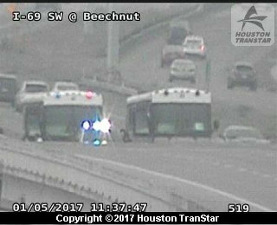 Portions of U.S. 59 were shut down after an incident about 10:30 a.m. Thursday, Jan. 5, 2017, near Gessener in southwest Houston. (Houston TranStar)