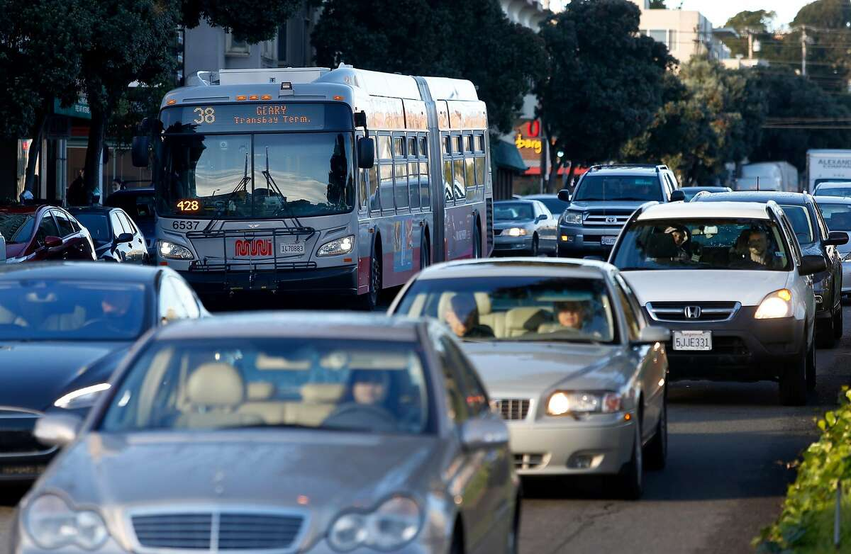 An eastbound 38-Geary bus navigates through heavy morning rush hour traffic line on Geary Boulevard near 25th Avenue in San Francisco, Calif. on Thursday, Jan. 5, 2017. Transit officials are expected to decide on Muni's Geary Bus Rapid Transit project soon.
