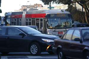 Inbound 38-Geary buses navigate through heavy morning rush hour traffic line on Geary Boulevard near 25th Avenue in San Francisco, Calif. on Thursday, Jan. 5, 2017. Transit officials are expected to decide on Muni's Geary Bus Rapid Transit project soon.