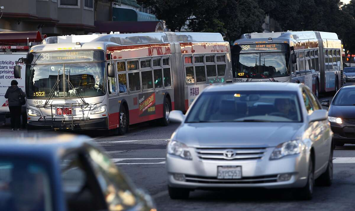 Buses pick up commuters on Muni's 38-Geary line at Geary Boulevard and 25th Avenue in San Francisco, Calif. on Thursday, Jan. 5, 2017. Transit officials are expected to decide on the Geary Bus Rapid Transit project soon.