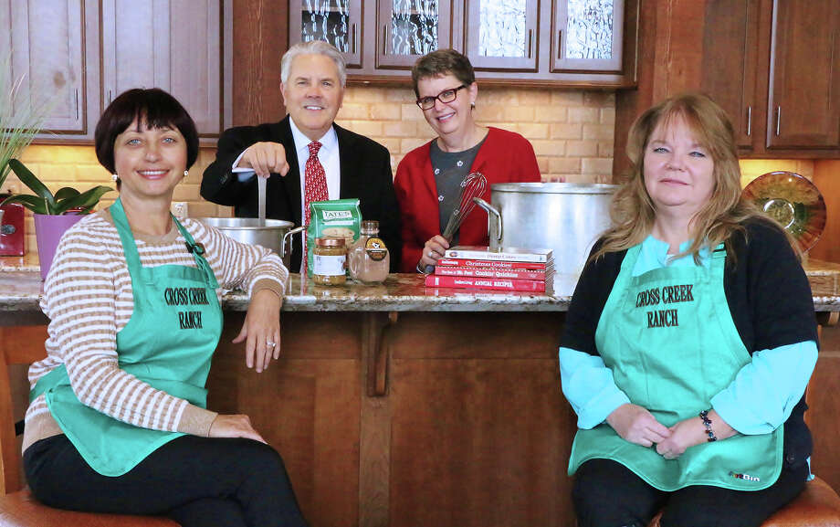 Johnson Development's Natalia Grynyshyn and Diane Nevels, Cross Creek Ranch General Manager Rob Bamford and L.E.A.F. Executive Director Janice Knight test a few recipes in advance of Men Who Cook 2017. Photo: Lamar CISD