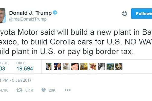 """Toyota Motor said will build a new plant in Baja, Mexico, to build Corolla cars for U.S. NO WAY! Build plant in U.S. or pay big border tax,"" President-elect Donald J. Trump said in a tweet Jan. 5, 2017."