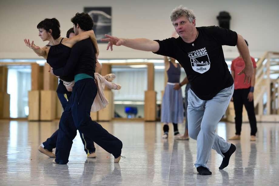 """San Francisco Ballet resident choreographer Yuti Possokhov rehearses dancers for his premiere,� """"Optimistic Tragedy."""" photo (c) Erik Tomasson Photo: Erik Tomasson"""
