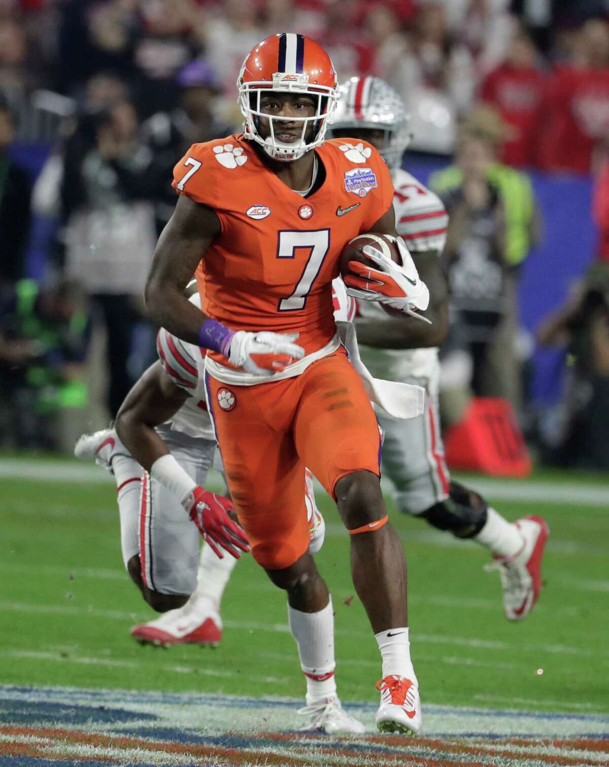 TOP FIVE 2. Mike Williams, 6-4, 218, 4.54, Clemson Big, strong, imposing downfield target, Williams provides an intriguing combination of size and leaping ability and has drawn comparisons to Mike Evans. Williams caught 84 passes for 1,171 yards and 10 touchdowns last season, proving he's overcome a fractured neck that nearly derailed his career when he hit his head against the goal post on a touchdown catch. Williams tracks down footballs well and is tough to stop in traffic. He has excellent body control and has soft hands. Would ideally be a little bit faster and more sudden in the open field.