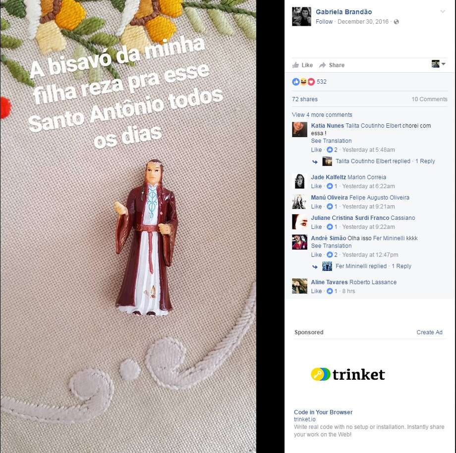 "Gabriela Brandao of Florianopolis, Brazil said in a Facebook post that her daughter's great-grandmother has been praying to a figurine of Saint Anthony everyday. Upon further inspection however, Brandao discovered the figurine is actually Elrond, an elf in ""The Lord of the Rings.""Image source: Facebook Photo: Gabriela Brandao Via Facebook"