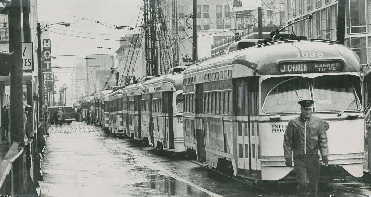 March 13, 1971: Market Street, between Van Ness Avenue and Franklin Street, rain fell so violently that it caused a sewer to give out and flood an excavation for the construction of BART. Muni had to substitute buses until the hole was drained, miraculously, in a matter of hours.