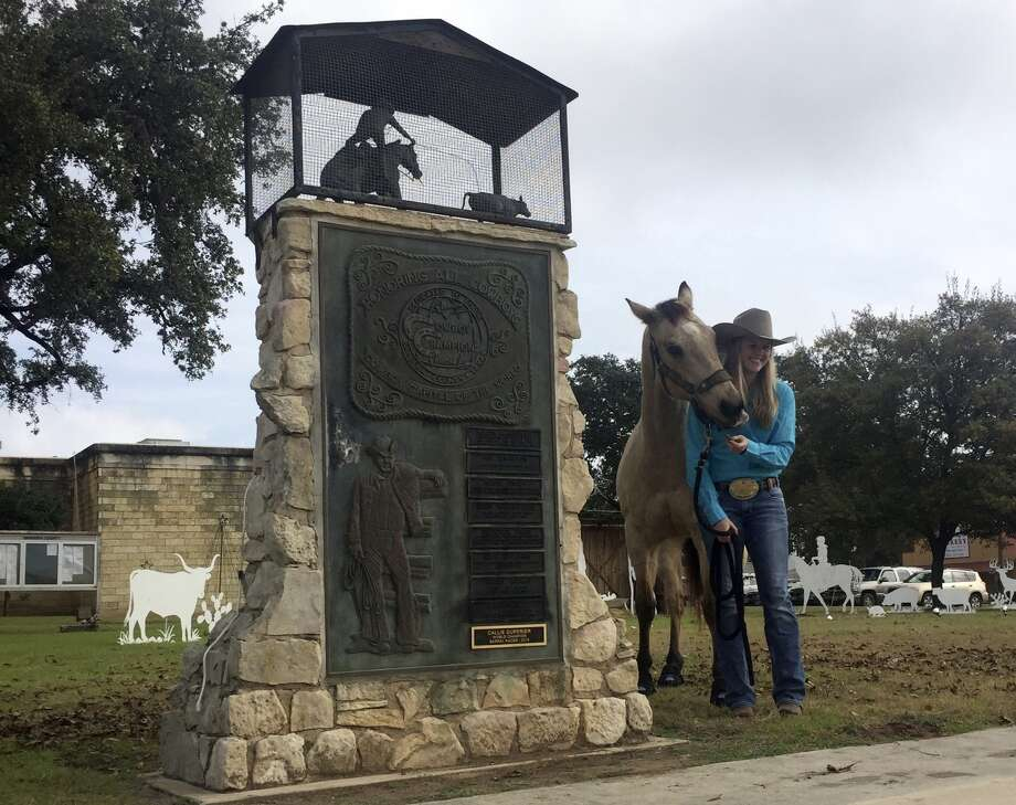 CallieApffel brought her horse Dillon to last week's ceremony in where her 2015 world title in barrel racing was added to the local lineup of champion cowboys from Bandera County. Her maiden name,CallieduPerier, was used on the plaque affixed to the monument outside the county courthouse in Bandera.