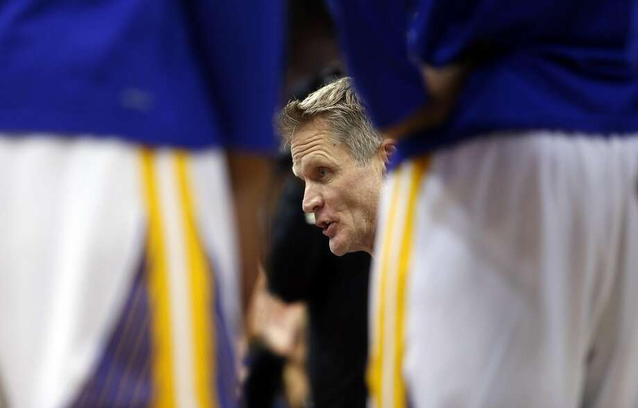 Golden State Warriors' head coach Steve Kerr against Portland Trail Blazers' during NBA game at Oracle Arena in Oakland, Calif., on Wednesday, January 4, 2017. Photo: Scott Strazzante, The Chronicle