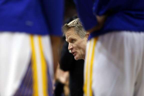 Golden State Warriors' head coach Steve Kerr against Portland Trail Blazers' during NBA game at Oracle Arena in Oakland, Calif., on Wednesday, January 4, 2017.
