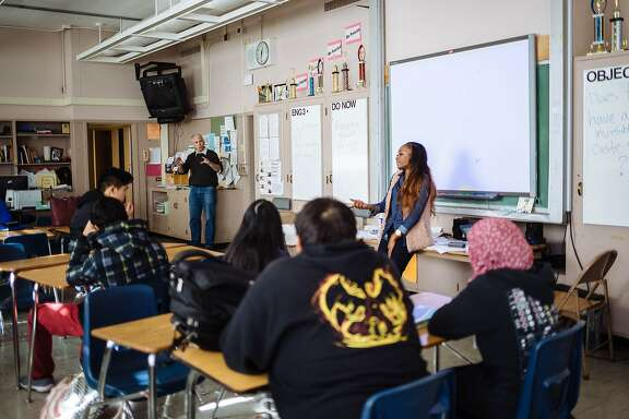 Mya Whitaker speaks to students at Skyline High School about her experience introducing the new police chief of Oakland and what she hopes will be better changes to policing in Oakland. Whitaker who was selected to be on the Oakland Police Review Board before its dismantling, hopes to be appointed to its new one. Thursday, January 5th, 2017, in Oakland, CA. Mya Whitaker is the program director for Bay Area Urban Debate League and along other several Oakland citizens, helped Mayor Libby Schaff select the new chief of police Anne Kirkpatrick in Oakland, CA.