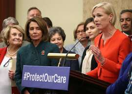 WASHINGTON, DC - JANUARY 05:  Planned Parenthood President Cecile Richards (R) is flanked by House Minority Leader Nancy Pelosi, (D-CA), and members of Congress while speaking about womenÕs health issues during a news conference on Capitol Hill, January 5, 2017 in Washington, DC. The news conference focused on issues facing women if the Affordable Care Act was repealed.  (Photo by Mark Wilson/Getty Images)