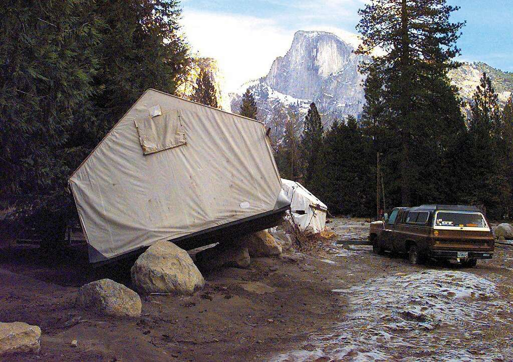 Tent cabins used by the concession workers were tossed around by New Years Day flood waters & Memories of disastrous 1997 flood haunt Yosemite - San Francisco ...