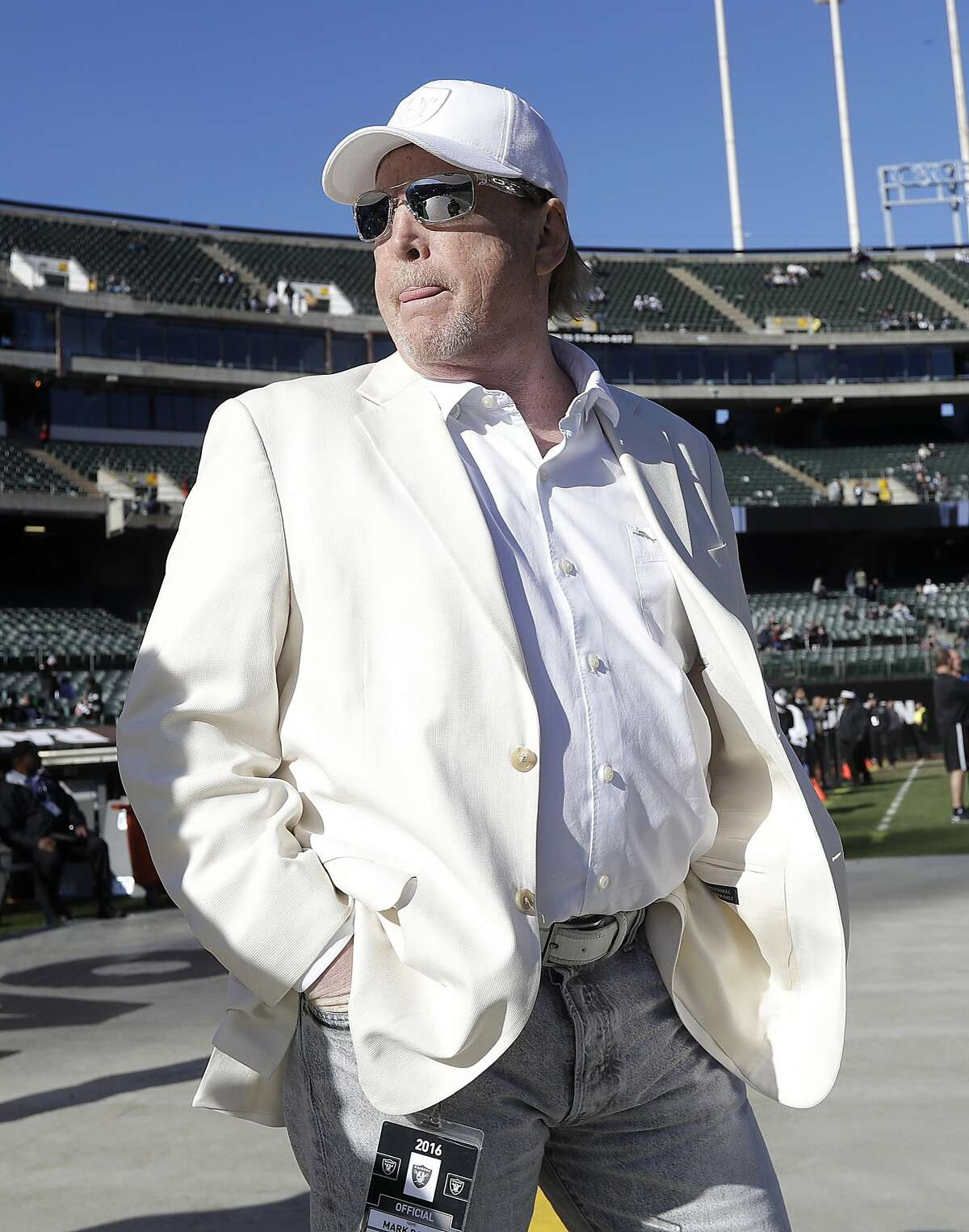 Oakland Raiders owner Mark Davis before an NFL football game between the Oakland Raiders and the Indianapolis Colts in Oakland, Calif., Saturday, Dec. 24, 2016. (AP Photo/Marcio Jose Sanchez)