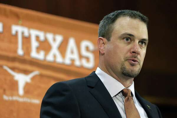 Tom Herman talks to the media during a news conference where he was introduced as Texas' new head NCAA college football coach on Nov. 27, 2016, in Austin.