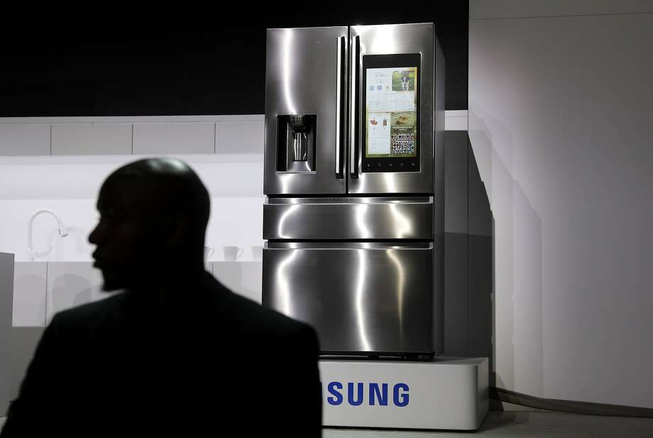 A refrigerator with Family Hub 2.0 is on display during a Samsung presentation. More home appliances are being made with voice controls. Photo: John Locher, Associated Press